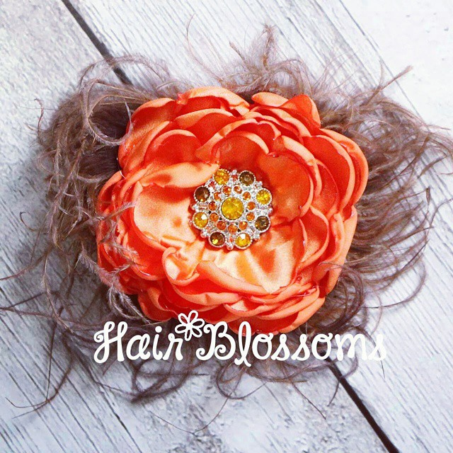 New Fall Ruffle Hair Blossom! This is currently up for sale on our website :) www.HairBlossoms.com  #HairBlossoms #RuffleBlossom #SingedFlowers
