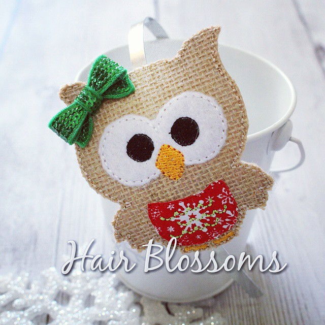 Burlap Christmas Owl Blossom Band!  #HairBlossoms #ShopSmall