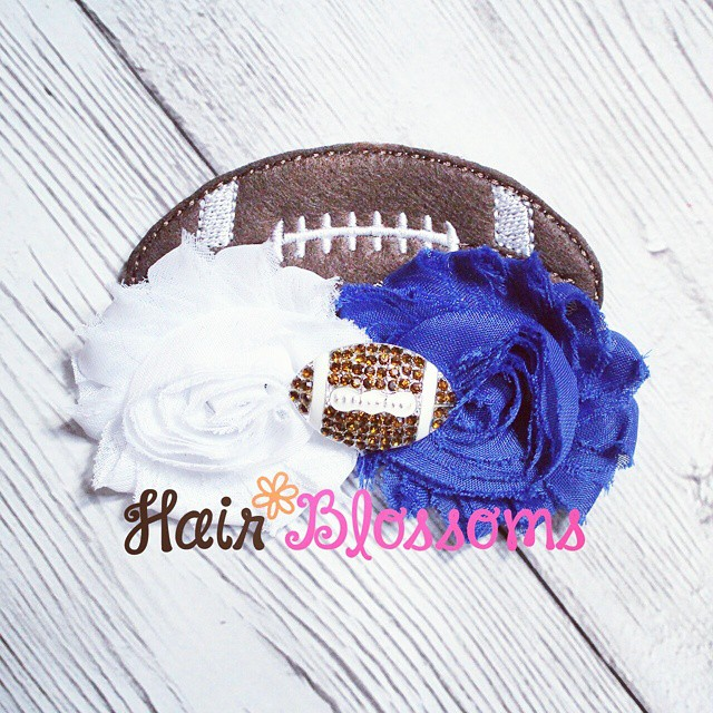 Football Shabby Blossom! This one you can custom pick your shabby colors :) www.HairBlossoms.com #HairBlossoms